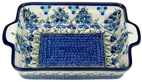 Ceramika Boleslawiecka Kalich Polish Hand Painted Rectangular Baking Dish 9 inch x 7.5 inch x 2 inch