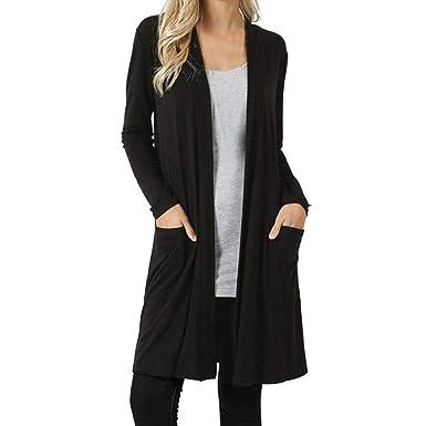 f8496dcf90 Toamen Women Solid Color Long-Sleeved Pocket Long Cardigan Jacket ...