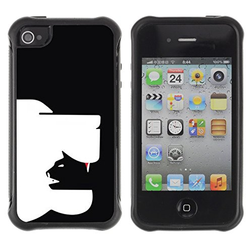 Apple Iphone 4 / 4S - Cat Dog Art In Yang Black - Rugged Armor Slim Protection Case Cover Shell