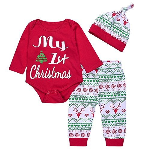Arleysh 3PCs Baby Boys Girls My First Christmas Rompers +Deer Print Long Pants+Hat Outfits Set