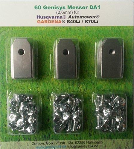 60 Cuchilla (0, 6mm) & Tornillos para Husqvarna Automower Y Gardena R40Li/R70Li