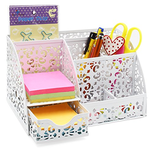 - EasyPAG Office Metal Desk Organizer 6 Compartments + Drawer Mixed Pattern Design White