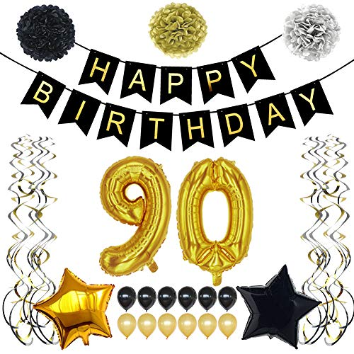 TYLANG 90th Birthday Decorations Party Supplies Gift for Men Women Adult, Black and Gold Party Supplies Favors for 90 Years Old, Happy Birthday Banner, 90 Gold Number Balloons, Sparkling Hang (Black)