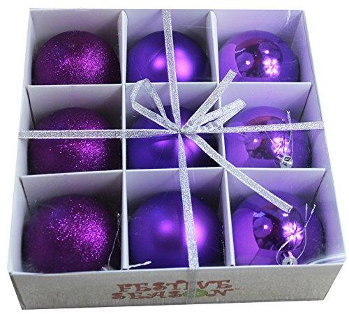 Festive Season Purple Shatterproof Christmas Balls Ornaments, Tree Decorations (Set of 9, 80mm) -