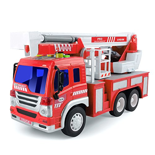 (Gizmovine Friction Power Fire Truck Toy with Lights and Sounds, Extending Rescue Rotating Ladder Pull Back Vehicles for Kids & Toddlers, 1:16)
