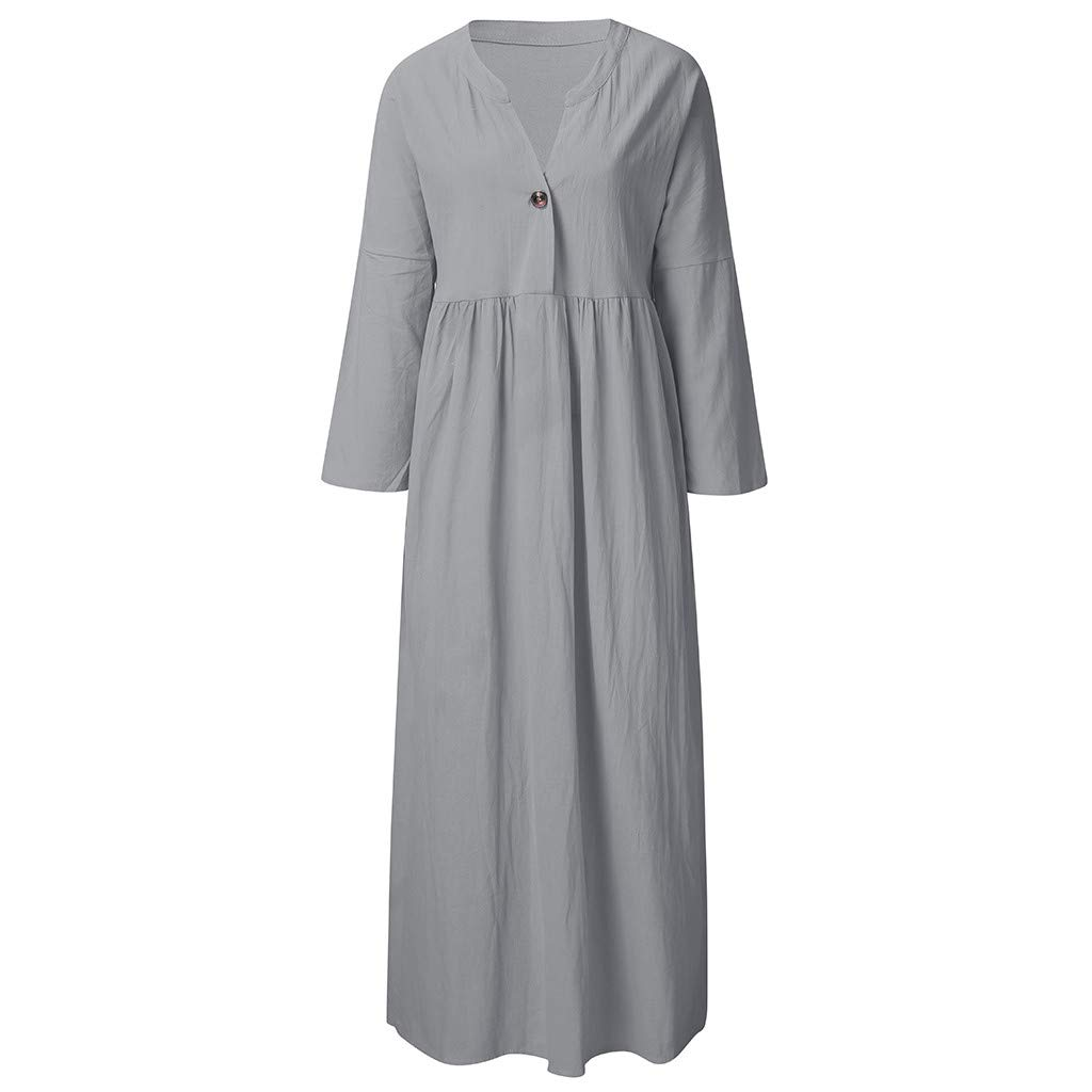 Women Cotton and Linen Dress Deep V-Neck, NDGDA Ladies Summer Long Sleeve Dress Loose A-line Party Sundress Button Dresses by NDGDA Women Dress