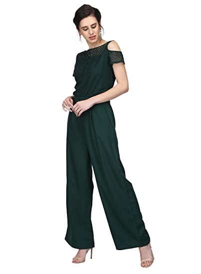 b56fbda23959 Eavan Green Lace Jumpsuit  Amazon.in  Clothing   Accessories