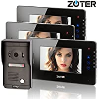 ZOTER 7 inch Touch Key Color LCD Wired Video Door Phone Doorbell Home Entry Intercom System Kit 3 Monitor 1 Camera Night Vision 705D2 (Black)
