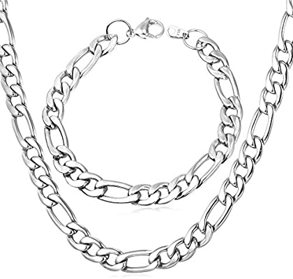 16-32 Inch U7 Jewelry Figaro Chain Wear Alone or Match Pendant with Custom Engrave Service,Width 3mm//5mm//8mm//9mm//12mm 18K Gold Plated or Stainless Steel Necklace