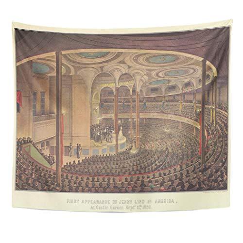 Semtomn Tapestry Artwork Wall Hanging Retro Vintage Music Jenny Swedish Opera Singer Musician Nostalgic 60x80 Inches Home Decor Tapestries Mattress Tablecloth Curtain Print]()