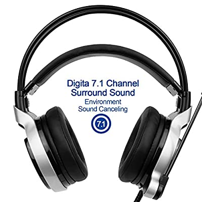 SADES SA908 Gaming Headset Digital 7.1 Channel Surround Sound USB PC Stereo Musical Headphones with High Sensitivity Microphone LED Light EMMETTS