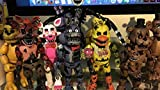 """Funko FNaF 1 2 3 Five Nights at Freddy's Game (Complete 5 Piece Set) Toys 5"""" Inch Nightmare Action Figures & Slap Bracelet - Freddy Fazbear Chica Funtime Foxy Bonnie"""