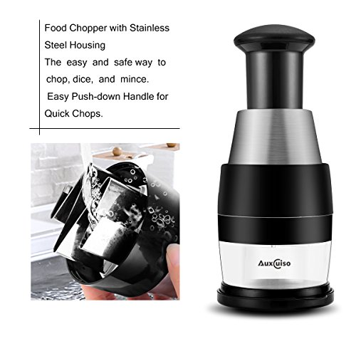 Slap and Press Food Chopper Manual Chop Veggie Garlic Onion Chopper Mincer Stainless Steel Housing by Auxcuiso (Image #3)