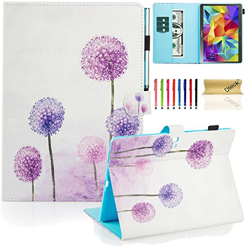 Galaxy Tab S 10.5 Case, Dteck(TM) Slim Fit Colorful Cute PU Leather Flip Stand Case with Auto Sleep/Wake Function Wallet Cover Smartshell for Samsung Galaxy Tab S 10.5 inch SM-T800, Purple Dandelion