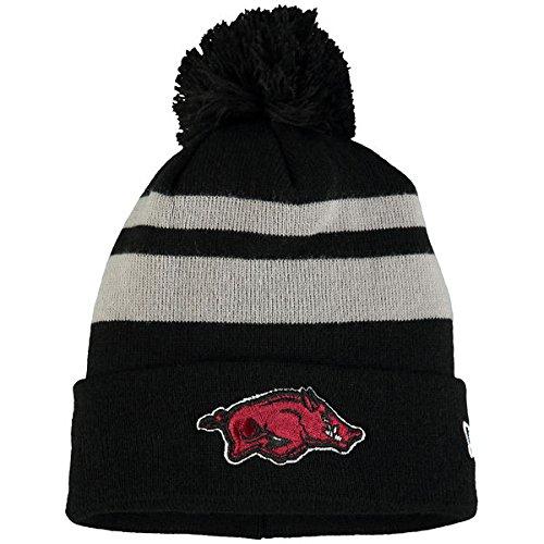 Amazon.com   Arkansas Razorbacks New Era Team Logo Cuffed Knit Hat with Pom  Black   Sports   Outdoors 0cff8edc7