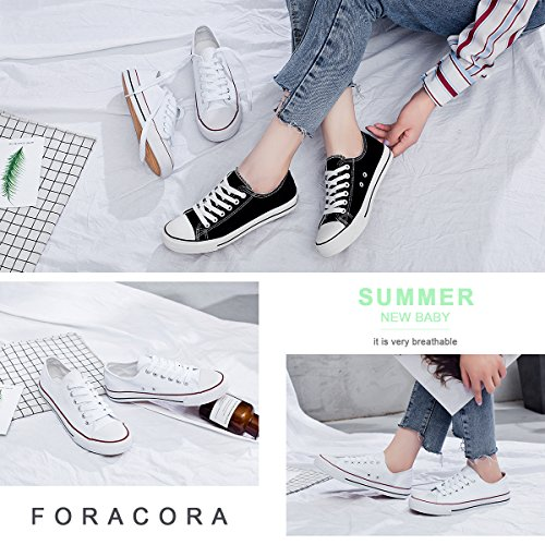 Womens Canvas Sneakers Low Cut Lace Ups Casual Walking Shoes(White,US10) by FRACORA (Image #2)