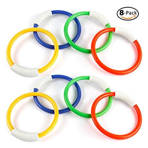NV 8-Pack Diving Rings Pool Toys for Kids