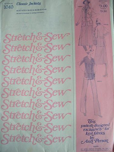 (Stretch & Sew Pattern 1040 ~ Misses' Classic Jackets ~ Bust 30-44)