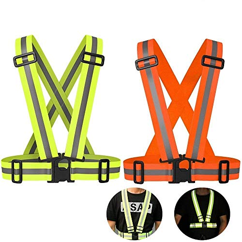 AUOON Reflective Strap Vest,Reflective Vest Adjustable,Lightweight & Elastic | Safety & High Visibility for Running, Jogging, Walking, Cycling (2 Pack, Green & Orange (Safety Lights Vests)