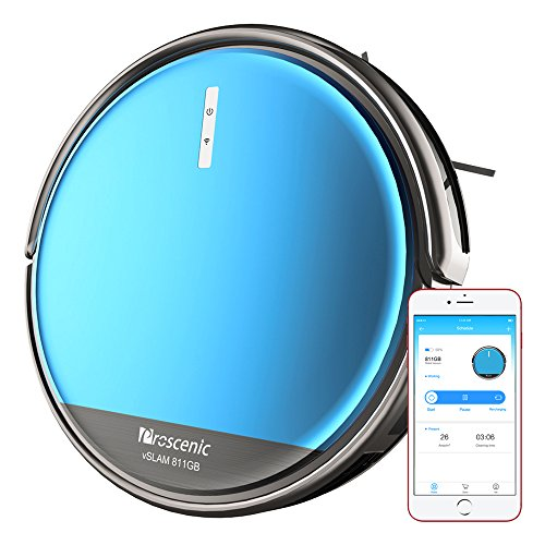 Proscenic 811GB Robotic Vacuum Cleaner with APP and Alexa, Boundary Magnetic Marker, Electric Control Water Tank(3 speeds) & Slim Design for Hard Floors, Blue