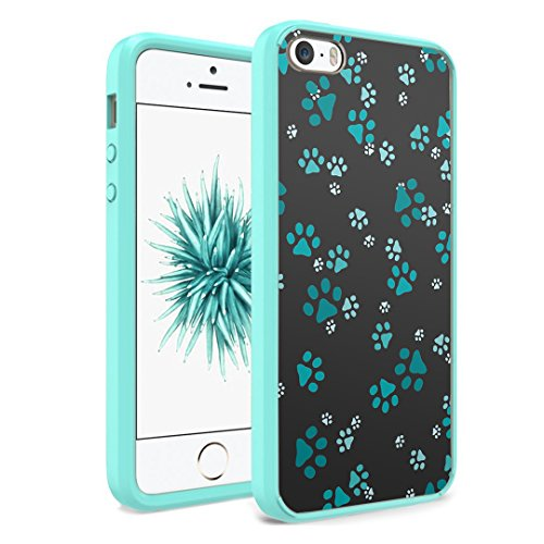 iPhone SE Case, iPhone 5s / iPhone 5 Case, Capsule-Case Hybrid Slim Hard Back Shield Case with Fused TPU Edge Bumper (Teal Green) for iPhone SE/iPhone 5s / iPhone 5 - (Paw Print Green)