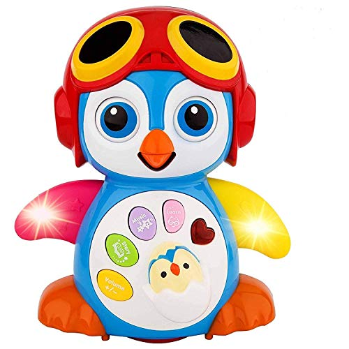 (HOMOFY Baby Toys 6 to 12 Months up ,Lovely Smart Swing Dancing Penguin Early EQ Education ,Music and Learning ,Walking ,Singing,Flashing LED Lights, Voice Answers Gifts Toys for Baby)