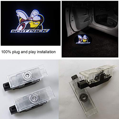 2x Car LED Puddle Projector Ghost Laser logo light For Dodge Challenger R/T Scat Pack,plug and play -