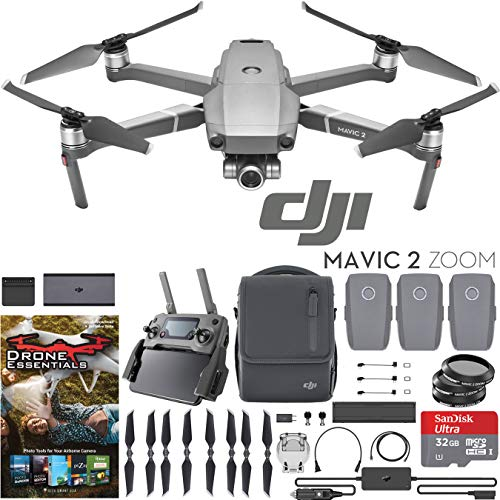 - DJI Mavic 2 Zoom Drone Fly More Kit with 24-48mm Optical Zoom Camera CMOS Sensor and 2X Flight Batteries, Car Charger, Battery Hub, Power Bank Adapter, Propellers, Bag, Filters & Software Bundle