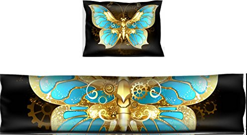 Liili Mouse Wrist Rest and Keyboard Pad Set, 2pc Wrist Support mechanical butterfly brass and gold with wings decorated with blue glass and gears 29120557