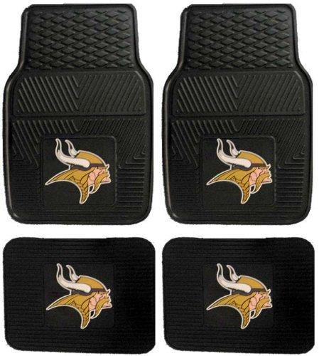 NFL Minnesota Vikings Car Floor Mats Heavy Duty 4-Piece Vinyl - Front and Rear