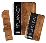Best Planner 2018 Agenda for Productivity, Durability and Style. 5x8 Daily Planner / Weekly Planner / Monthly Planner / Yearly Agenda. HARDCOVER Organizer with BOOKMARK and JOURNAL (Wood Grain)