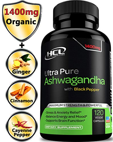 Organic Ashwagandha Capsules 1400 MG Root Powder Extract with Black Pepper - Vitamins to Relieve Anxiety
