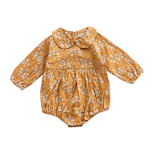 (BELS Infant Baby Girls Romper Twins Butterfly Sleeve Ruffles Onesie Bodysuit Outfits(Ginger,6-12 Months )