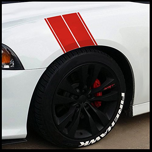 Fender Stripes Vinyl Hash Marks - Universal Racing Stripe Sticker Set for car/Truck (Red)