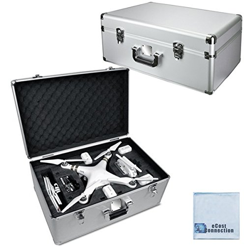 Aluminum-Hard-travel-carrying-Case-for-DJI-Phantom-34-with-Custom-pre-cut-High-Density-protective-foam-and-Locking-Latches-with-keys-eCostConnection-Microfiber-Cloth