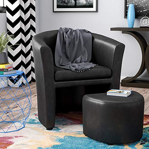 Accent Barrel Chair with Ottoman, Contemporary Faux Leather Armchair Set, Club Chair, Reception Seat (Black) (Faux Reception Leather)