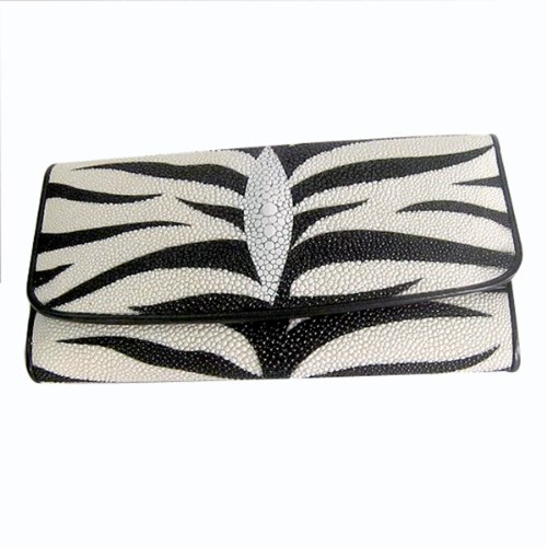 GENUINE STINGRAY LEATHER WOMEN EXCLUSIVE TRIFOLD CLUTCH WALLET-WHITE WITH BLACK TIGER (Tigers Tri Fold Leather)
