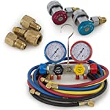 ARKSEN Air Conditioner Refrigerant R410 R22 R134 R407C AC Manifold Gauge Set 5FT Colored Hose