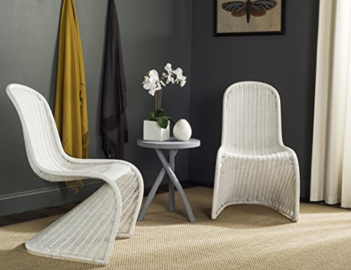 Safavieh Home Collection Tana Wicker Side Chair, White (Chairs Safavieh Wicker)