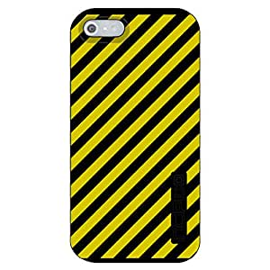 CUSTOM Black Incipio DualPro Case for Apple iPhone 5 / 5S - Black Yellow Diagonal Stripes