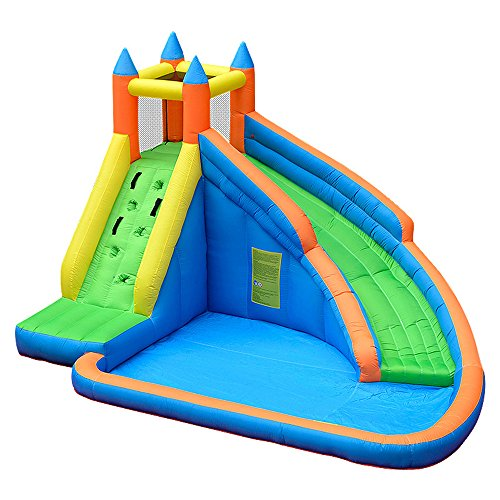 (Doctor Dolphin Inflatable Bounce Slide Water Park Bouncy Castle House with Air Blower)