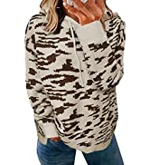 Dokotoo Women Casual Long Sleeve Hooded Sweatshirt Hoodies Leopard Sweater
