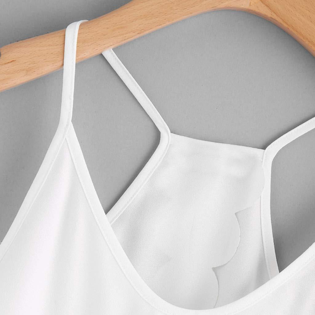 LUNIWEI New T-Shirt for Women Overlap Back Scallop Hem Crop Tops Vest Sleeveless Tee Blouse Shirt 2019