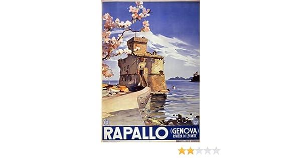 16x24 Rapallo Italy 1940s Vintage Style Italian Travel Poster