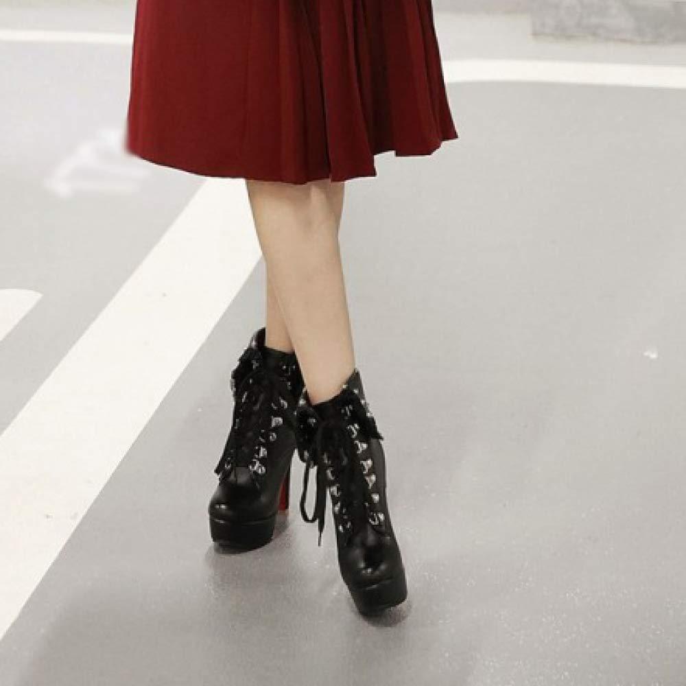 Bloque para Mujer Botines De Tacón Alto Plataforma con Cordones PU Cuero Cremallera Botines De Fiesta De Moda Zapatos De Gran Tamaño: Amazon.es: Zapatos y ...