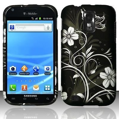 Design Rubberized Hard Case for Samsung Galaxy S2 T989 (T-Mobile) - White Flower