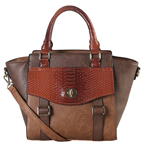 diophy-pu-leather-two-tone-front-pocket-with-snake-skin-pattern-flap-buckle-decor-top-handle-handbag