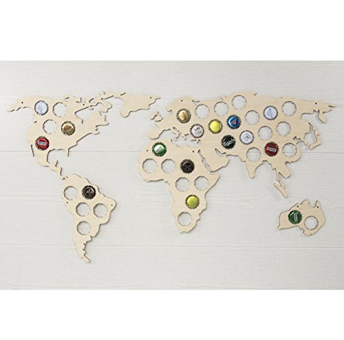 Beer bottle caps map - Beer cap display - Wooden caps holder - Bottle caps holder - Collecting beer caps - Man cave decor - World ()