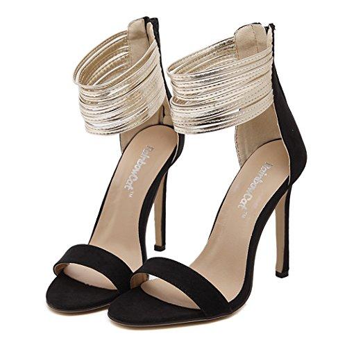 Galinsky Print (Autumn Melody British Style Summer Fine Band Peep-toe Zipper Suede Fashion Women High Heels Size 7.5 US)