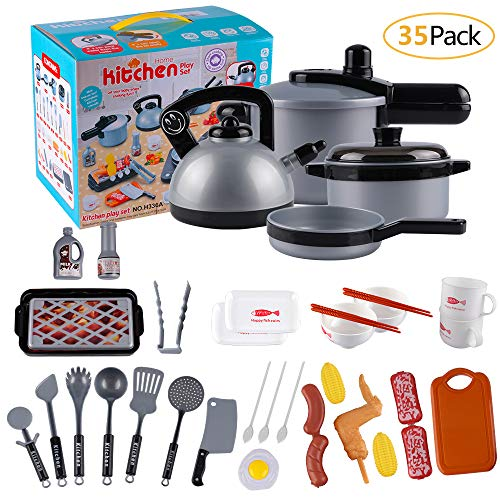 MEckily 35 Piece Kids Kitchen Pretend Play Toys Kitchen Cooking Set,Toddler Kitchen Playset,Pots and Pans Set,Cookware Playset, Cutting Vegetable Playset,Educational Learning Toy, Kitchen Play Food ()